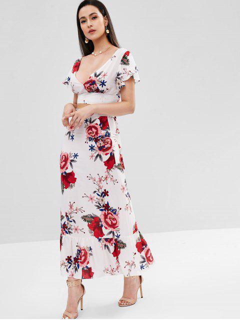 Maxi Robe Florale Plongeante Deux Pièces - Blanc XL Mobile