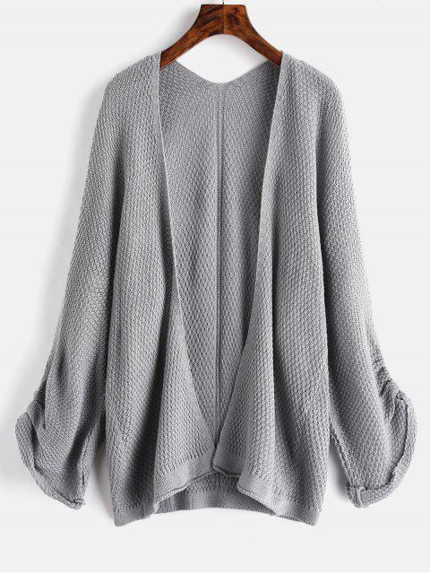 online Textured Collarless Tunic Cardigan - GRAY ONE SIZE Mobile