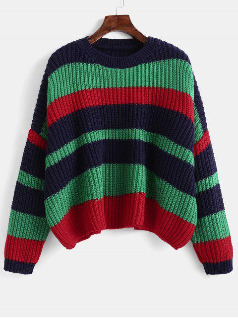 shops Color Block Chunky Crop Sweater - DEEP GREEN ONE SIZE Mobile