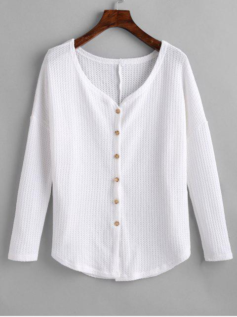 sale Knotted Button Up V Neck Blouse - WHITE L Mobile