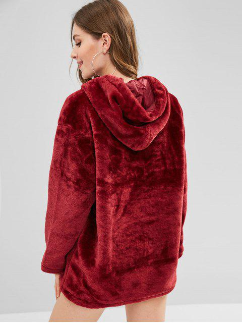 sale Zipped Long Faux Fur Hoodie - RED WINE L Mobile