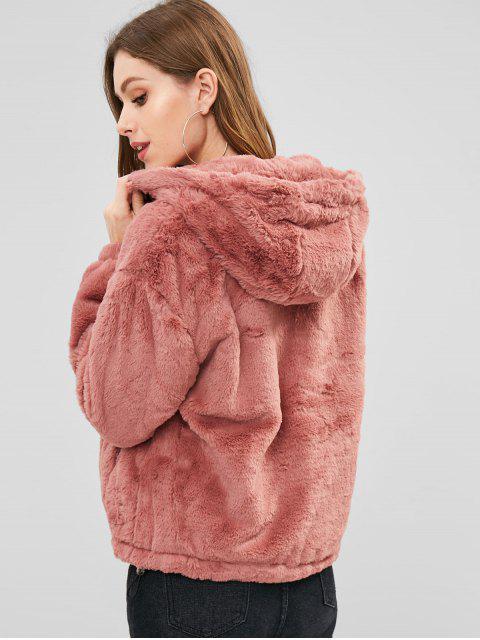 Manteau d'Hiver à Capuche en Fausse Fourrure en Peluche - Rouge à Lèvres Rose M Mobile