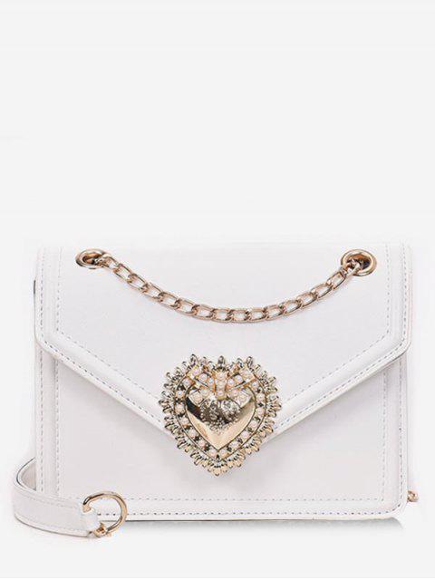 trendy Faux Pearl Decorative Crossbody Bag - WHITE  Mobile