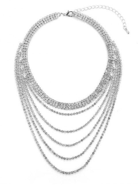 fancy Rhinestone Multi-layered Necklace - SILVER  Mobile