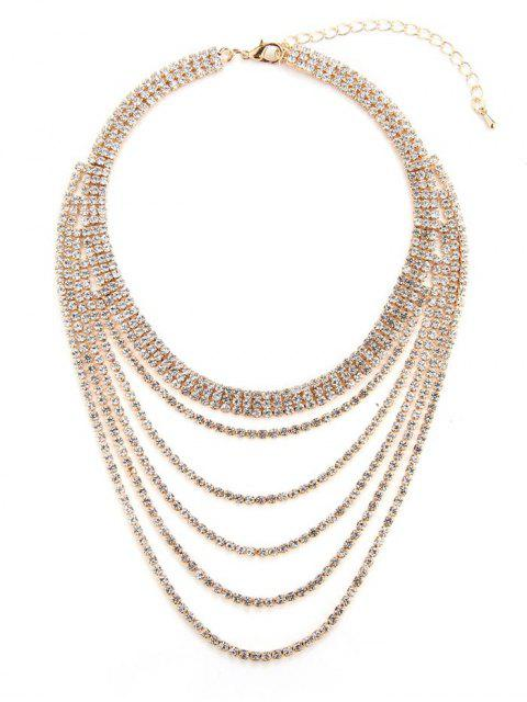Strass collier multicouche - Or  Mobile