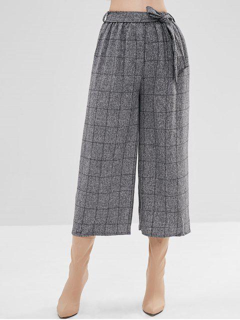 Pantalones de pierna ancha a cuadros con cinturón - Gris Talla única Mobile