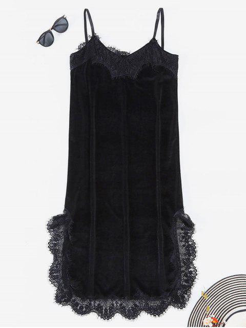Vestido de terciopelo de encaje de encaje - Negro L Mobile