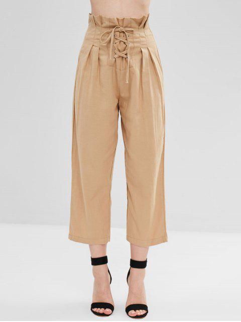Pantalones de cintura alta con cordones - Tan S Mobile