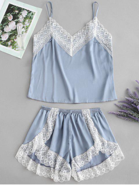 Conjunto de pijama de satén Cami Top y pantalón corto de pierna - Gris Azulado L Mobile
