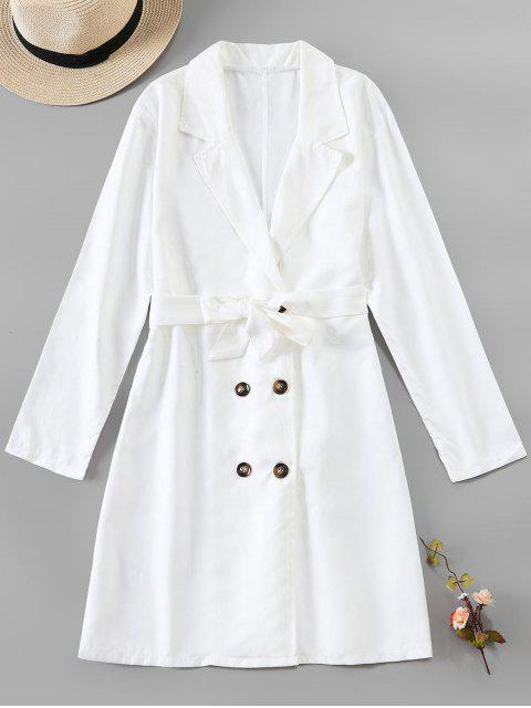 ladies Button Up Belted Longline Blazer - WHITE S Mobile