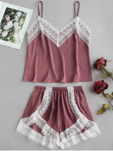 Conjunto de pijama de satén Cami Top y pantalón corto de pierna - Marrón M Mobile