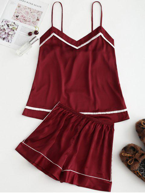Piped Satin Cami Top und Shorts Pyjama Set - Roter Wein 2XL Mobile