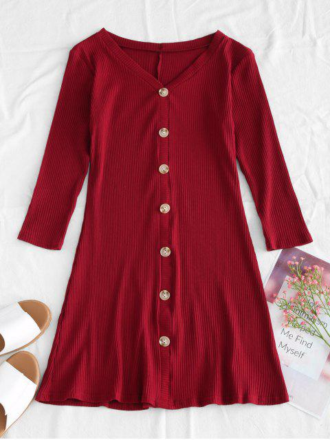 Ripped Knit Mini Flare Kleid - Roter Wein S Mobile