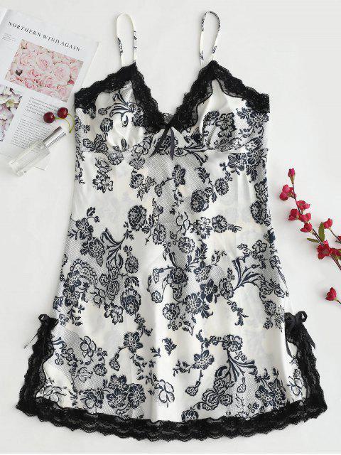 Vestido de satén con estampado floral y satén - Multicolor L Mobile