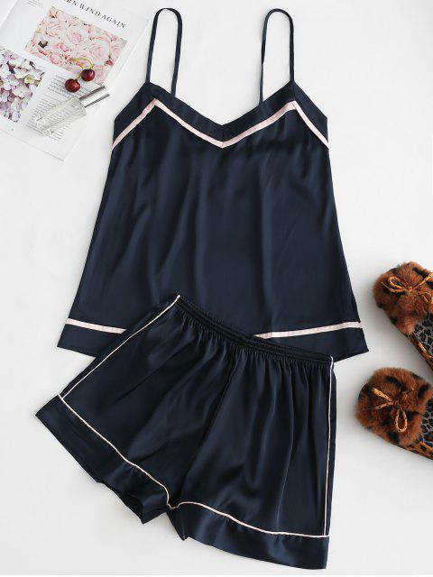 Piped Satin Cami Top und Shorts Pyjama Set - Dunkel Blau 2XL Mobile