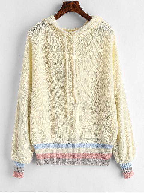 Suéter con capucha panel rayas - Blanco Cálido Talla única Mobile