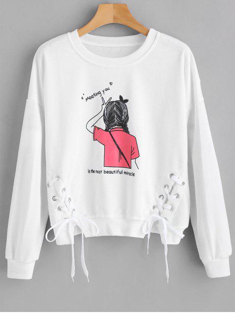 Schnüren Sie sich Grafik Pullover Sweatshirt - Weiß Eine Größe Mobile