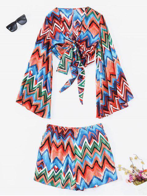 Farbige Zickzack-Wrap Top und Shorts Co Ord Set - Multi M Mobile