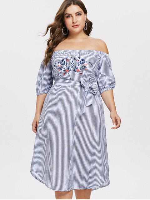 Vestido de Hombro Bordado de Rayas de Talla Grande - Multicolor 2X Mobile