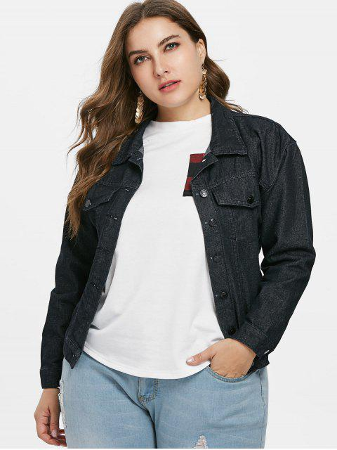 affordable Plus Size Embroidered Denim Jacket - BLACK 5X Mobile