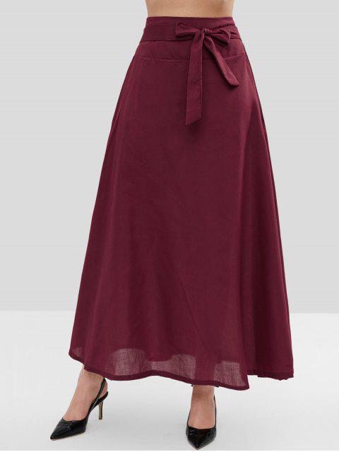 Falda larga de un lazo de la cintura - Marrón L Mobile