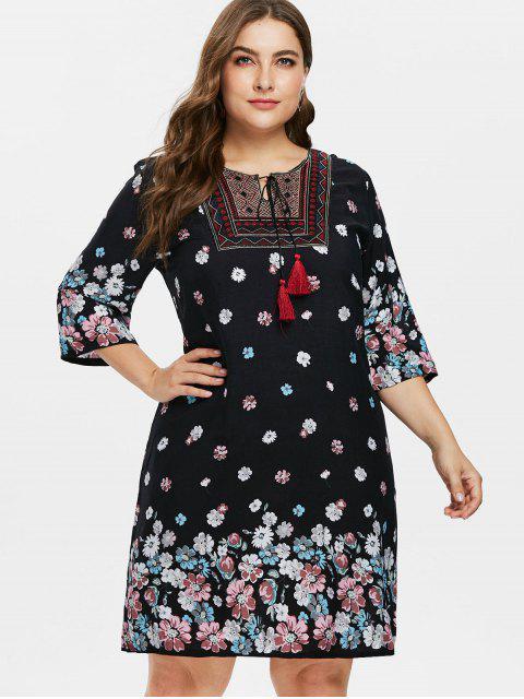 Plus Size Blumen Bauer Kleid - Schwarz 3X Mobile