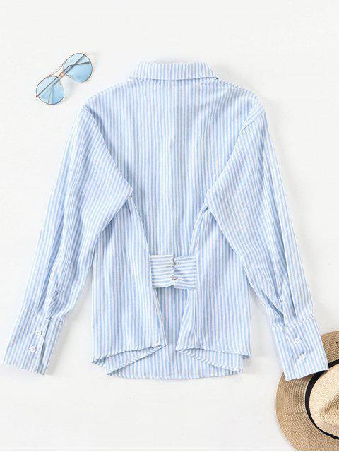 ポケットストライプシャツ - ライトブルー L Mobile