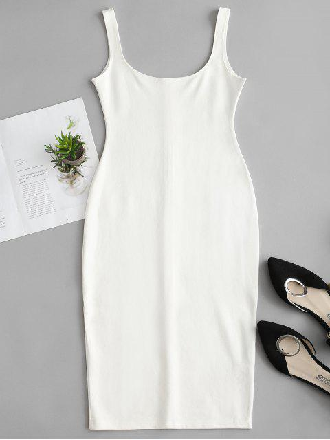 shop U Neck Pencil Tank Dress - WHITE M Mobile