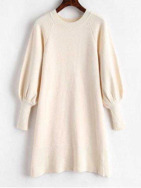 unique Lantern Sleeve Sweater Dress - WARM WHITE ONE SIZE Mobile