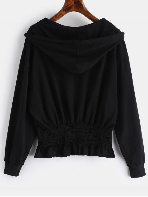 جيب مطرزة Smocked هوديي - أسود L Mobile