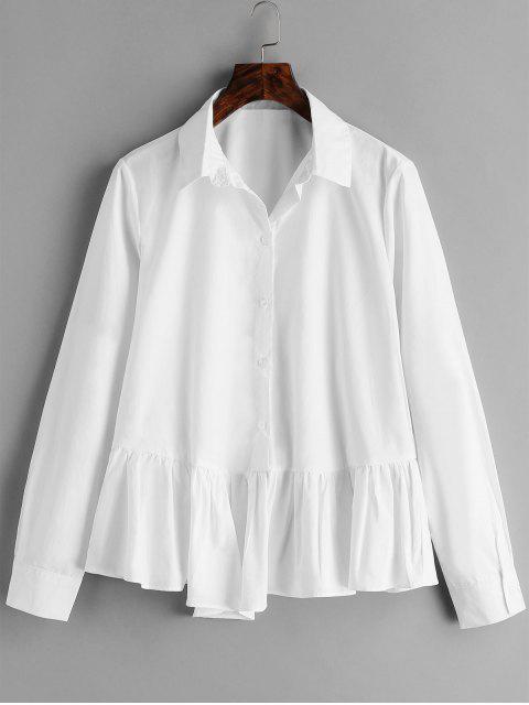 fashion Cotton Flounce Peplum Shirt - WHITE M Mobile