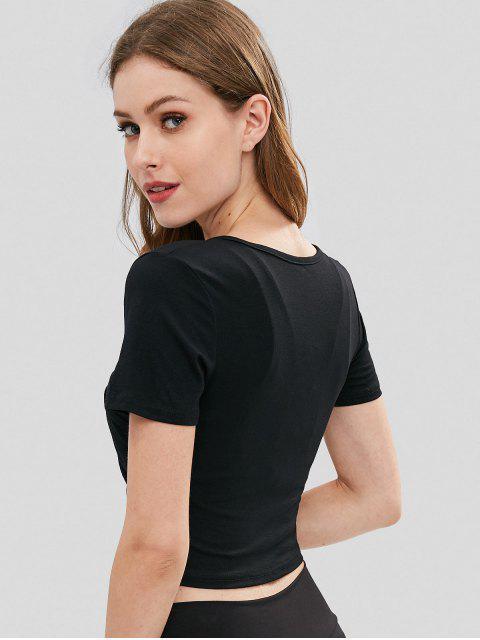 T-Shirt Court de Sport en Surplis et à Décolleté Plongeant - Noir M Mobile