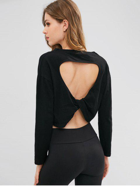 latest Twisted Back Cut Out Tee - BLACK ONE SIZE Mobile