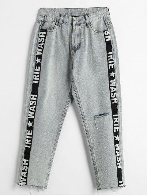 Side Letter Stripe Tobillero Boyfriend Jeans - Azul Denim M Mobile