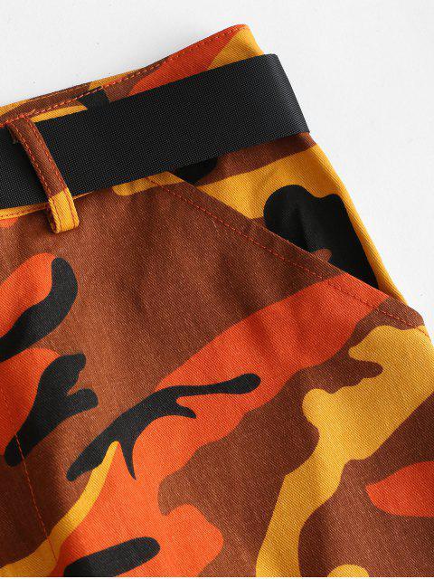 迷彩 ポケット ベルト付き ジョガーパンツ - オレンジ M Mobile