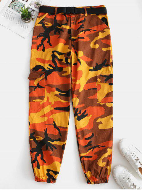ladies Camo Pocket Belted Jogger Pants - ORANGE S Mobile