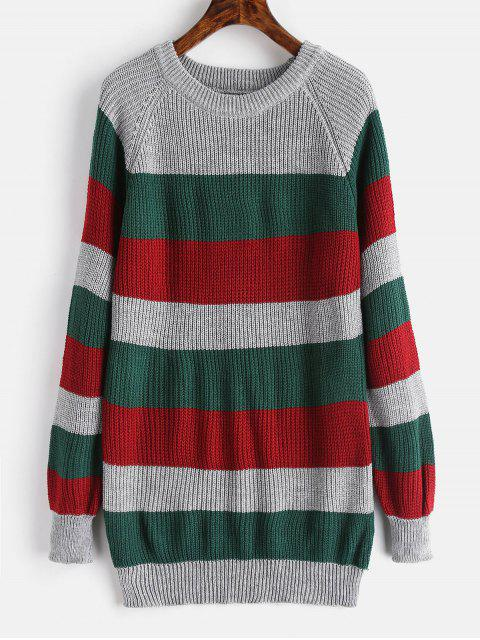outfits Striped Color Block Tunic Sweater - MULTI ONE SIZE Mobile