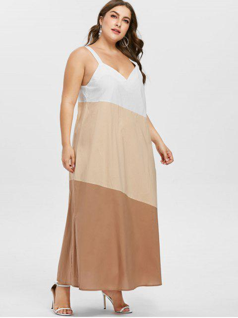outfits ZAFUL Plus Size Sleeveless Contrast Dress - BLANCHED ALMOND 3X Mobile