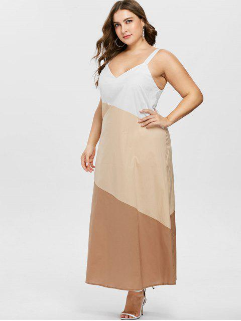 chic ZAFUL Plus Size Sleeveless Contrast Dress - BLANCHED ALMOND 4X Mobile