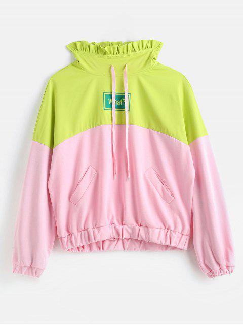 Gerüschtes Kragen-Farbblock-Sweatshirt - Multi Eine Größe Mobile