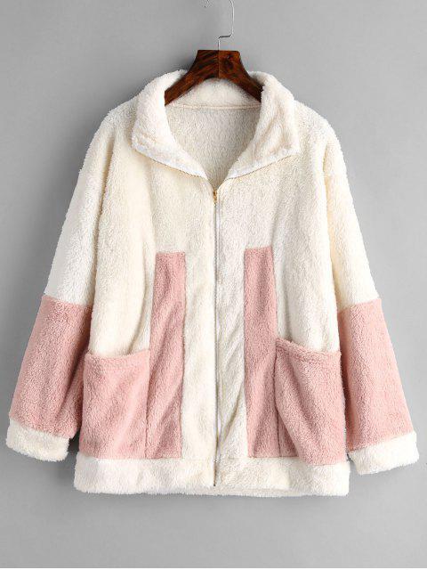 best Zip Front Contrast Faux Fur Coat - BEIGE L Mobile