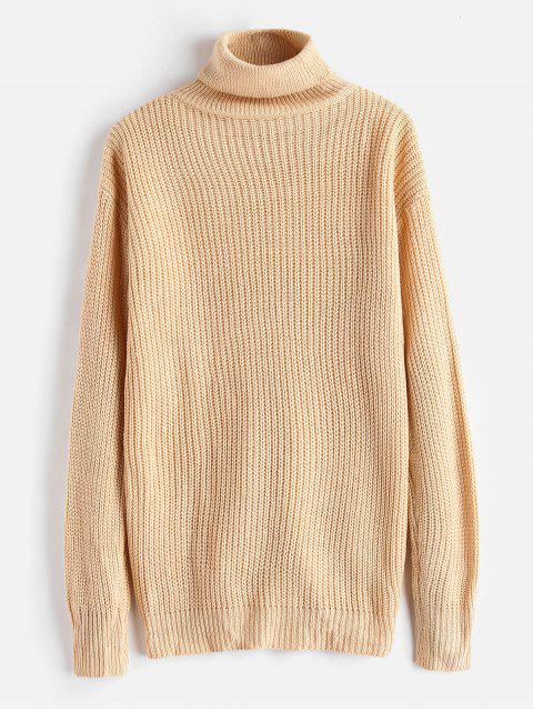 womens Lace-up Turtleneck Tunic Sweater - APRICOT ONE SIZE Mobile