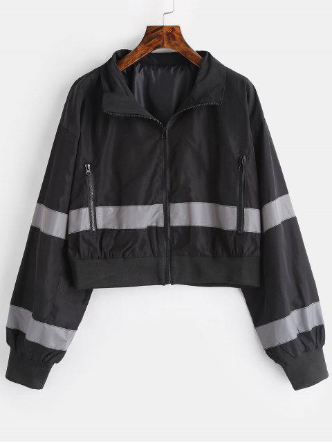 latest Zip Pocket Reflective Jacket - BLACK L Mobile