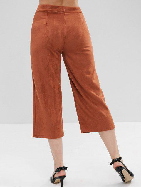 womens ZAFUL Faux Suede Wide Leg Pants - BROWN L Mobile