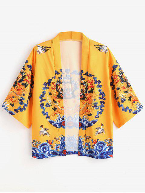 Cardigan Kimono Dragon Imprimé - Jaune M Mobile