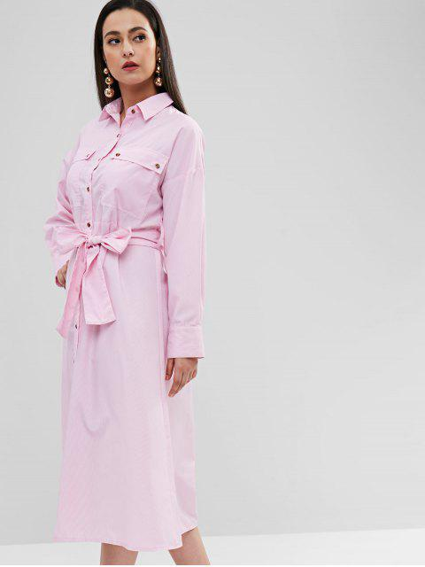 ZAFUL Robe Chemise Rayée avec Poche à Rabat - Rose  Taille Unique Mobile