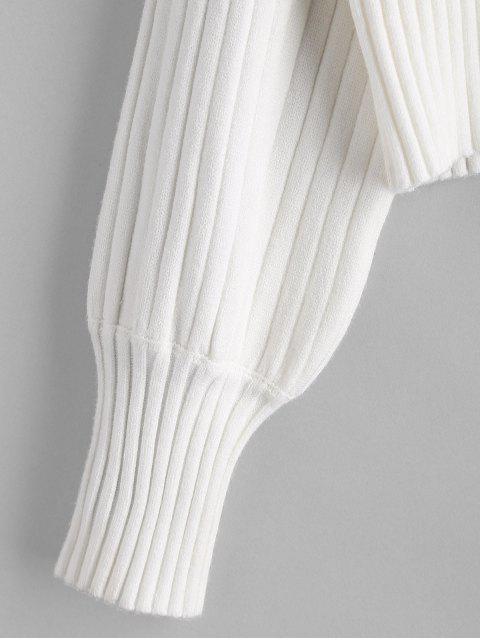 Jersey de Cuello Alto con Hombro Caído - Blanco Talla única Mobile