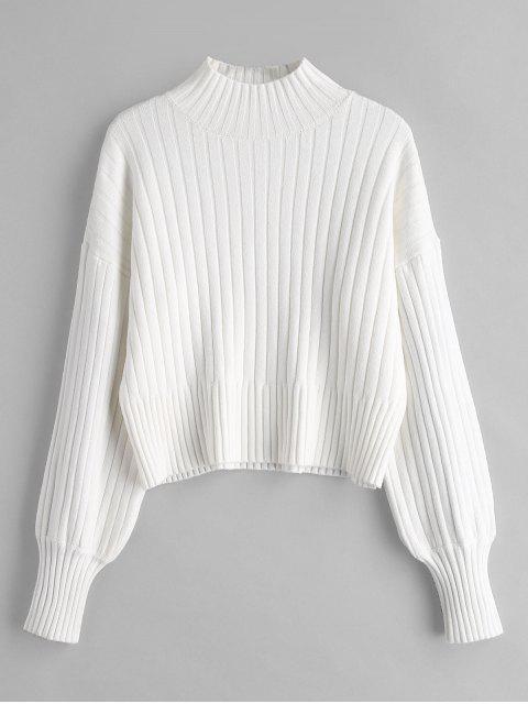 Fallengelassener Shoulder Mock Neck Sweater - Weiß Eine Größe Mobile