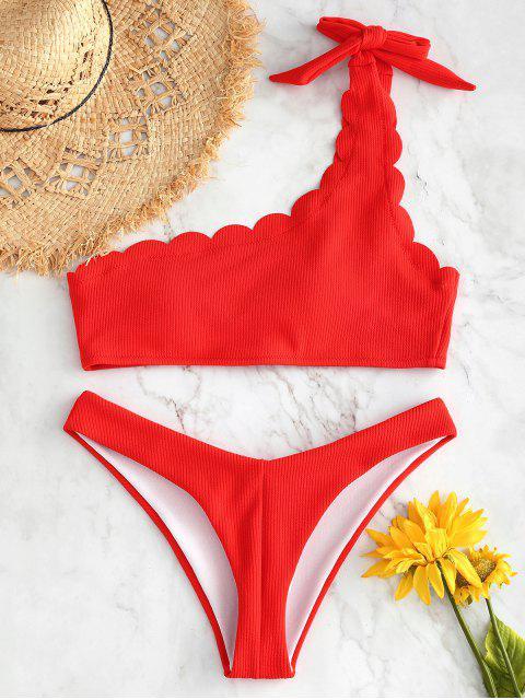 Bikini de un hombro festoneado, acanalado y acanalado - Naranja Brillante L Mobile