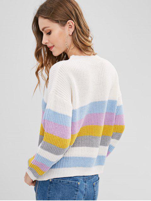 ZAFUL Bunte Streifen Pullover - Multi-B Eine Größe Mobile